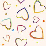 Seamless pattern with pencil hearts Stock Images