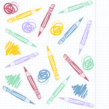 Seamless pattern with pencils Stock Photography