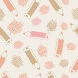 Seamless pattern with pencils Royalty Free Stock Photos