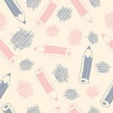 Seamless pattern with pencils Stock Photo