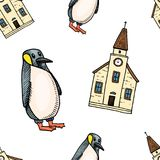 Seamless pattern penguin and chapel. Merry Christmas or xmas, New Year. winter holiday decoration. engraved hand drawn Royalty Free Stock Photography