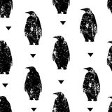Seamless pattern with penguin and triangles. Ornament for textile and wrapping. Vector Stock Images