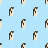 Seamless pattern of penguins on blue background winter bird cartoon cold ice animal wallpaper vector illustration. Stock Images
