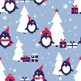 Seamless pattern, penguins, fir trees, snow, gifts stock illustration
