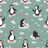 Seamless pattern. Penguins on the ice floes. vector illustration