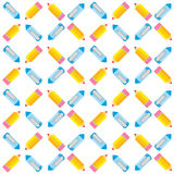 Seamless pattern of pens and pencils. Vector background Royalty Free Stock Photos