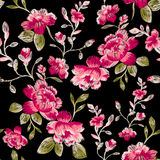 Seamless pattern of peonies. Imitation embroidery. Stock Photos