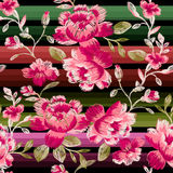 Seamless pattern of peonies. Imitation embroidery. Royalty Free Stock Photo