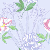 Seamless pattern  with peonies and irises Royalty Free Stock Photography