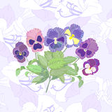 Seamless pattern  with peonies and pansy Stock Images