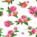Seamless pattern with peonies. Peony. Flowers and buds. Wedding background. Royalty Free Stock Images