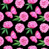 Seamless pattern with peonies and pink butterfly. Hand drawn watercolor illustration. Texture for print, fabric, textile. Seamless pattern with peonies and pink vector illustration
