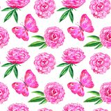 Seamless pattern with peonies and pink butterfly. Hand drawn watercolor illustration. Texture for print, fabric, textile. Seamless pattern with peonies and pink stock illustration