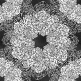 Seamless pattern with peonies. Round kaleidoscope Stock Image