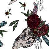 Seamless pattern with peony and animal skull. Royalty Free Stock Photos