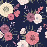 Seamless pattern with peony, dahlia and poppy. Collection decorative floral design elements for wedding invitations and birthday c Royalty Free Stock Photography