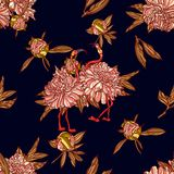 Seamless pattern with peony and flamingo. royalty free illustration