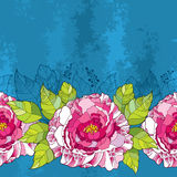 Seamless pattern with peony flower in pink and green leaves on the blue textured background. Royalty Free Stock Photo