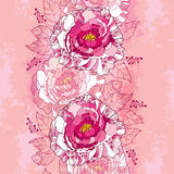 Seamless pattern with peony flower in pink and leaves on the vintage textured background. Floral background in contour style Stock Photography