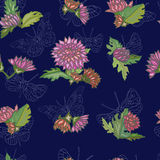Seamless pattern with peony flowers. Background with decorative flowers and butterflies vector illustration