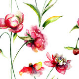 Seamless pattern with Peony flowers Stock Photos