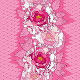Seamless pattern with peony in pink, ornate leaves and decorative white lace on the pink background. Stock Photo