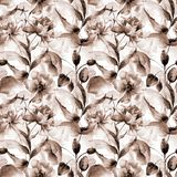 Seamless pattern with Peony and Poppy flowers. Watercolor painting Stock Photography
