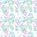 Seamless pattern with Peony and Poppy flowers. Watercolor painting Royalty Free Stock Photo