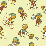 Seamless pattern with people of big city Stock Photography