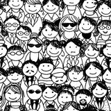 Seamless pattern with people crowd for your design Stock Images