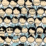 Seamless pattern with people crowd for your design Royalty Free Stock Images