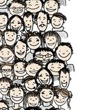 Seamless pattern with people crowd for your design Royalty Free Stock Photography