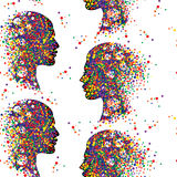 Seamless pattern with people faces. Man and woman head icons. Abstract couple profile. Colorful vector illustration Royalty Free Stock Photography