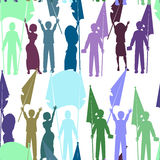 Seamless pattern of people with flags illustration Stock Images