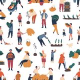 Seamless pattern with people gathering crops in autumn. Backdrop with farmers harvesting or collecting seasonal ripe royalty free illustration