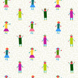 Seamless pattern people geometry colorful Stock Photography