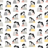 Seamless pattern with people in love. Backdrop with cute cuddling romantic couples or hugging men and women on white royalty free illustration