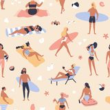 Seamless pattern with people lying on beach and sunbathing, reading books, surfers carrying surfboards. Backdrop with. Men and women relaxing at summer resort royalty free illustration