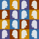 Seamless pattern. People's faces with different emotions (temper Royalty Free Stock Images