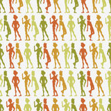 Seamless pattern with people silhouettes Royalty Free Stock Photo