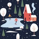 Seamless pattern with people skating. Skaters on a skating rink in a small town covered with snow. Winter activities and sports. Happy winter holidays. Vector stock illustration