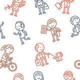 Seamless pattern with people Stock Photography