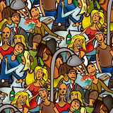 Seamless pattern of people for a walk Royalty Free Stock Photo