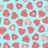 Seamless pattern with peppermint candy stylized as heart symbol. Stock Photography