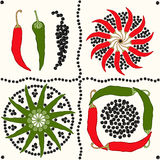 Seamless pattern with peppers Stock Photos
