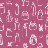 Seamless pattern of perfume bottle and cosmetic Royalty Free Stock Photos