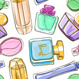 Seamless pattern of perfume bottles. Hand drawn seamless pattern of perfume bottles Stock Illustration