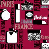 Seamless pattern with perfume and cosmetics retro background Stock Photos