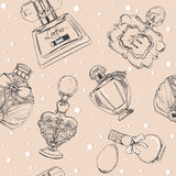 Seamless pattern with perfumes Stock Photo