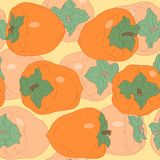 Seamless pattern with persimmon Royalty Free Stock Photo